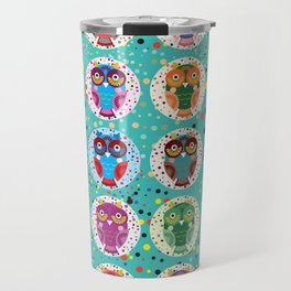 funny colored owls on a turquoise background Travel Mug