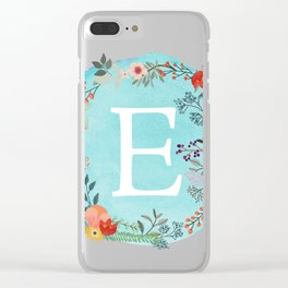 Personalized Monogram Initial Letter E Blue Watercolor Flower Wreath Artwork Clear iPhone Case