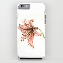 Pink Lily Flower Watercolor iPhone Case