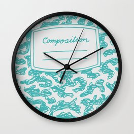 Composition Book Teal  Wall Clock