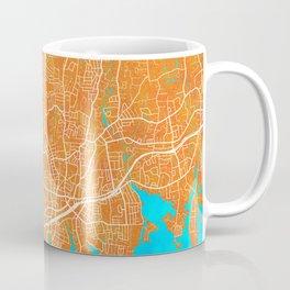 Stamford, CT, USA, Gold, Blue, City, Map Coffee Mug