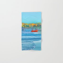 Abstract summer fun and surf rescue boat Hand & Bath Towel