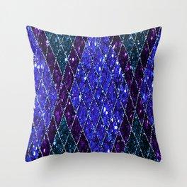 Blue Purple Teal Art Deco Sequin Throw Pillow
