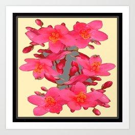 BLACK-PINK FLOWER BLOSSOMS YELLOW SPRING ART Art Print