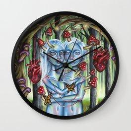 Blue Hearts Wall Clock