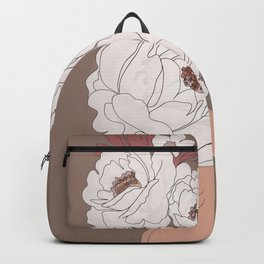 Woman with Peonies Backpack