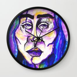 Purple Portrait Of A Woman Surreal Pastel Blue Sadness Frida Kahlo Wall Clock