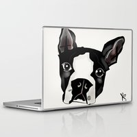 boston terrier Laptop & iPad Skins featuring Boston Terrier by transFIGure