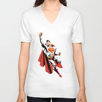dc V-neck T-shirts featuring DC - Superman by TracingHorses