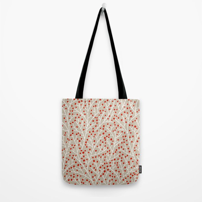 Red & White Berry Branches Tote Bag