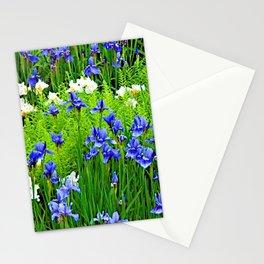 BLUE & WHITE  IRIS FLOWER GARDEN Stationery Cards