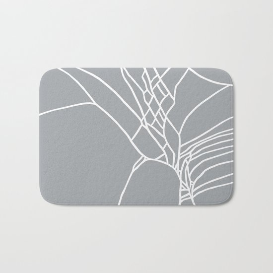 Cracked White on Grey Bath Mat
