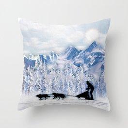 Dogsledding Throw Pillow