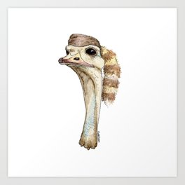 Ostrich in a Coonskin Hat Art Print