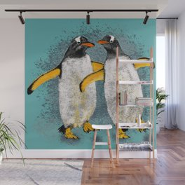 Happy penguin couple - Teal fade Wall Mural