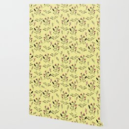 Rose Hummingbirds and Pink Flowers in Butter Yellow Floral Pattern with Pink Flowers and Bark Brown Wallpaper