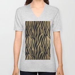 Modern elegant black faux gold trendy zebra animal print Unisex V-Neck