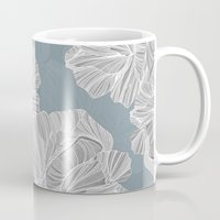 gray pattern Mugs featuring Gray Roses Pattern - Blue  by Sweet Karalina