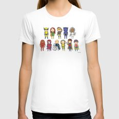 Super Cute Heroes: X-Men LARGE Womens Fitted Tee White