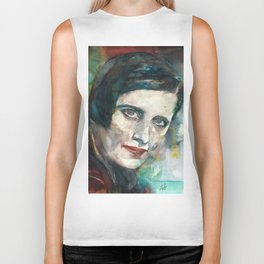 AYN RAND - watercolor portrait.3 Biker Tank