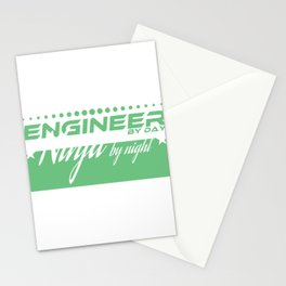 """""""Engineer by Day Ninja by"""" tee design. Funny and sensible tee just right for you! Makes a cute gift! Stationery Cards"""