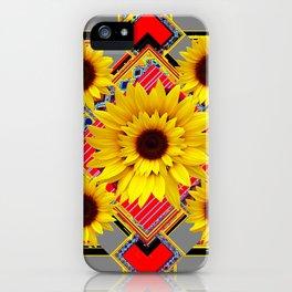 WESTERN STYLE RED-GREY SUNFLOWER MODERN ART iPhone Case