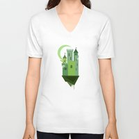 castle in the sky V-neck T-shirts featuring Sky Castle 2 by Becky Gibson