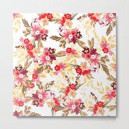 Pastel pink red brown modern hand drawn fall floral illustration Metal Print