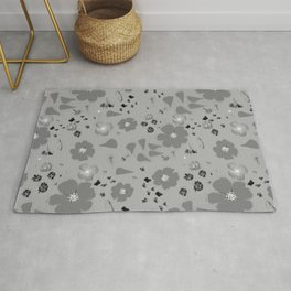 Gray Monochromatic Real Wildflowers Botanical Pattern Rug