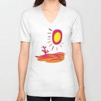 desert V-neck T-shirts featuring Desert by salamandra7