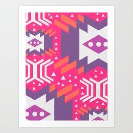 Future geometry in pink Art Print