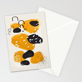 Mid Century Modern Abstract Vintage Colorful Shapes Yellow black Leopard Spots Stationery Cards