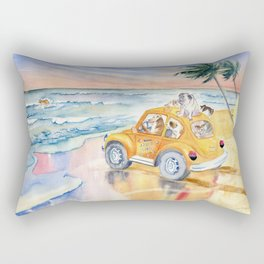 Dogs Family at the beach Rectangular Pillow