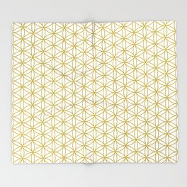 Flower of Life Pattern – Gold & White Throw Blanket