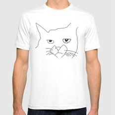 oh hai cat face White MEDIUM Mens Fitted Tee