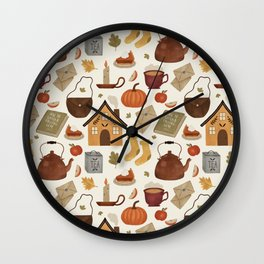 Autumn Cottage Days Wall Clock