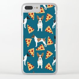 Rat Terrier pizza dog breed pet portrait dog pattern dog breeds gifts for dog lovers Clear iPhone Case