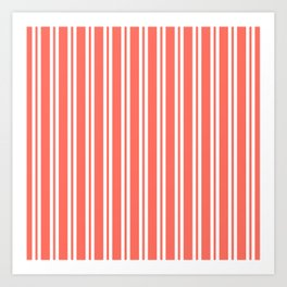 Living Coral Wide Small Wide Stripes Art Print