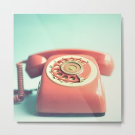Pink Retro Telephone on Mint  Metal Print