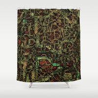 techno Shower Curtains featuring Techno Fantasy 003 by MehrFarbeimLeben