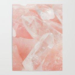 Light Pink Rose Quartz Crystals Poster
