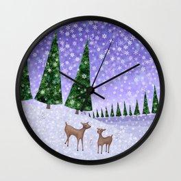 deer in the winter woods Wall Clock