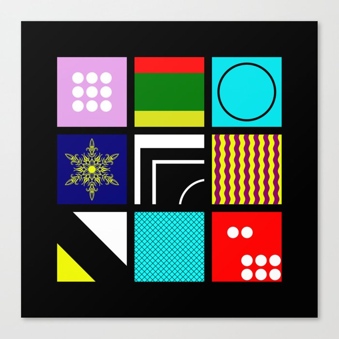 Eclectic 1 - Random collage of 9 bold colourful patterns in an abstract style Canvas Print
