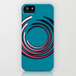 Rough red circles over blue iPhone Case