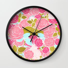 Pink Roses with Aqua & Gold Chic Watercolor Floral Wall Clock