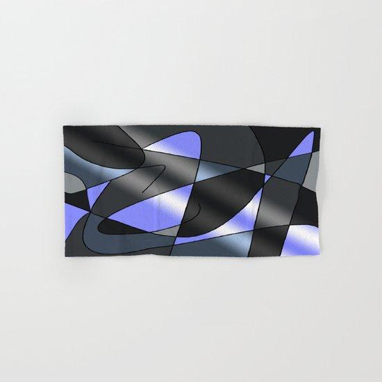 ABSTRACT CURVES #2 (Greys & Light Blue) Hand & Bath Towel