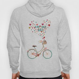 Ride Your Bike Bicycle Art Print Home Decor Living Room in pastel colors hearts Modern Wall Graphic  Hoody