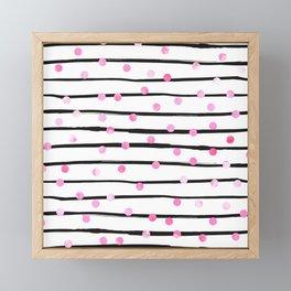 Blush pink black watercolor modern stripes polka dots Framed Mini Art Print