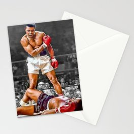 Mama Said I'm Gonna Knock You Out - Ali Knocks out Liston Boxing Portrait Painting oil on canvas Stationery Cards