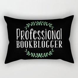 Professional Bookblogger - Black w Green Rectangular Pillow